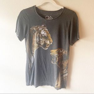 CHASER Black Distressed Tiger Graphic T Shirt